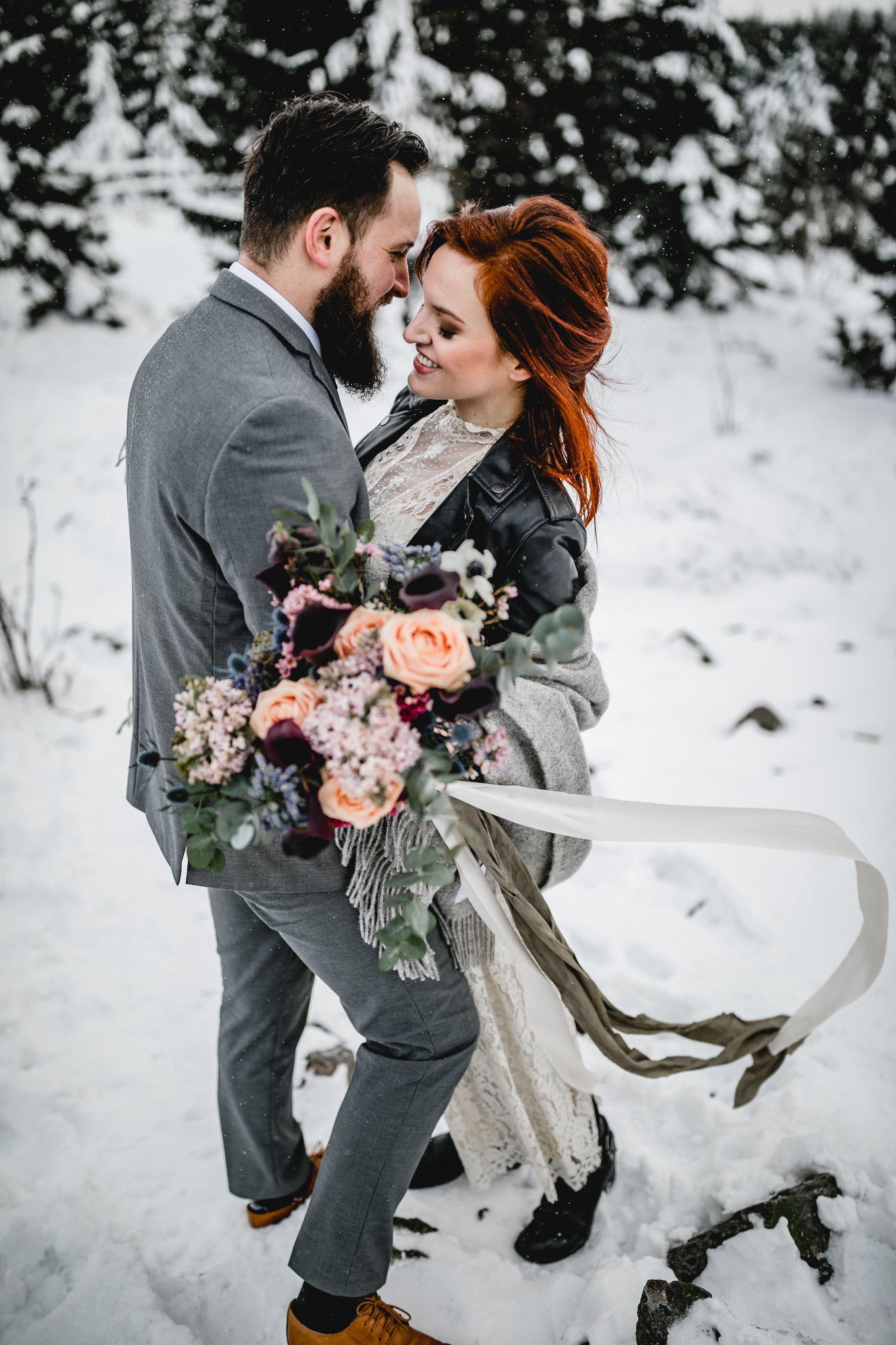 Winter Hochzeit Schnee Schneehochzeit Harz Hochzeit Berge