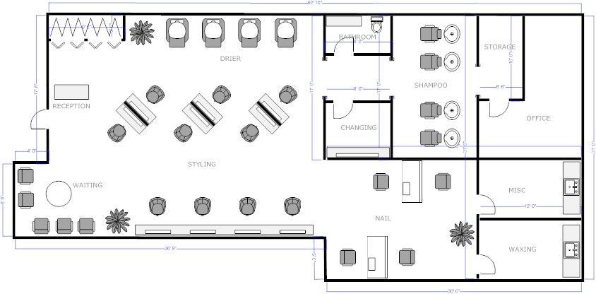 Salon floor plan 3 salon business project pinterest for Salon floor plans free