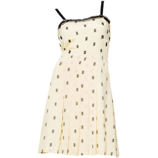 b7bd481672 For Sale on - A gorgeous off-white silk dress with a short pleated skirt