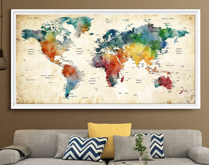 Extra large watercolor push pin map poster print world map wall art extra large watercolor push pin map poster print world map wall art artwork travel map large map home decor blue watercolor art l47 gumiabroncs Images