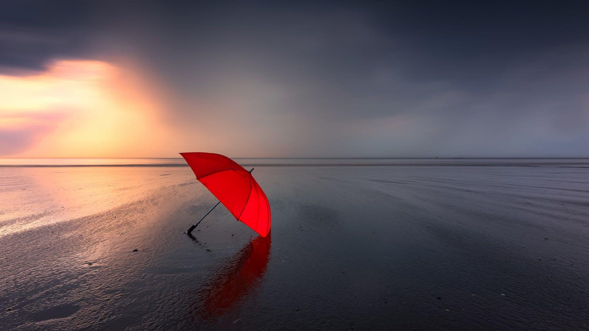 Umbrella Red Umbrella Sea Beach Horizon Cloudy Photography 1080p Wallpaper Hdwallpaper Desktop Umbrella Photography Red Umbrella Cloudy Photography