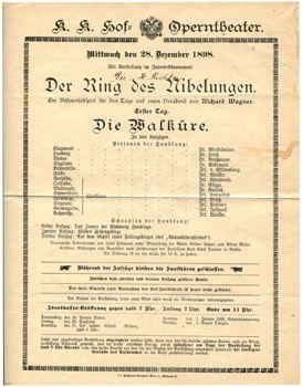 """RICHTER CONDUCTS at the K.K. HOF OPERNTHETAER WIEN-  -28 December 1898- """"Die WALKURE"""