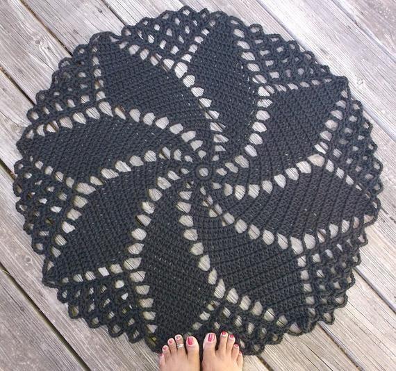 """Crochet tappeto in cotone nero 33"""" spirale Pattern Anti"""