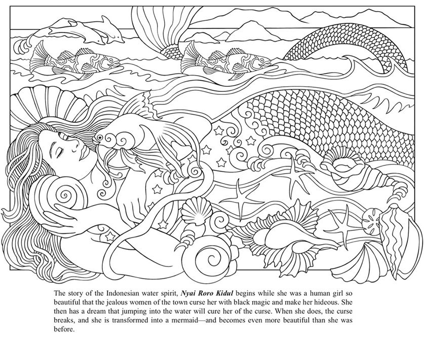 Mythical Mermaids Coloring Book Dover Publications Printable