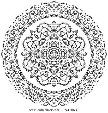 Circular pattern in the form of a mandala. Henna tatoo mandala ...