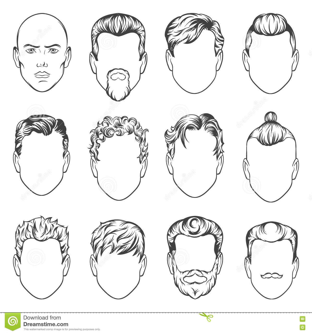 Set Of Hand Drawing Men Hairstyles Illustration Stock Illustration