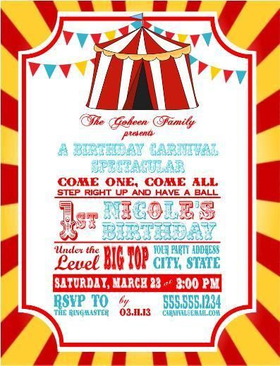 Circus Carnival Birthday Party Ticket Invitations Clown Popcorn
