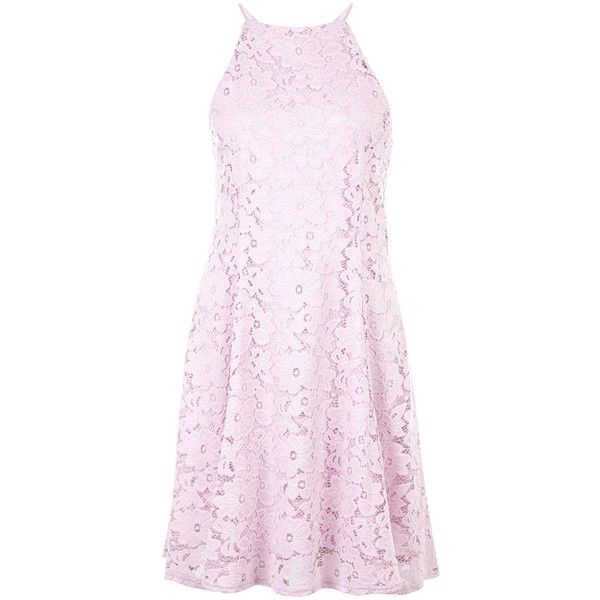 New Look Lilac Floral Flounce Lace Skater Dress (£23) ❤ liked on Polyvore featuring dresses, lilac, floral print dress, lace skater dress, floral skater dress, pink skater dress and skater dress