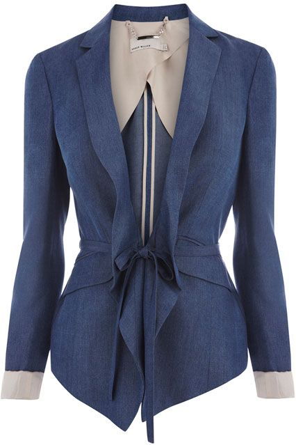66f5809999 Drawstring Waist Tailored Blue Jacket, £175 by Karen Millen- Perfect top  for my next Race day at Keeneland