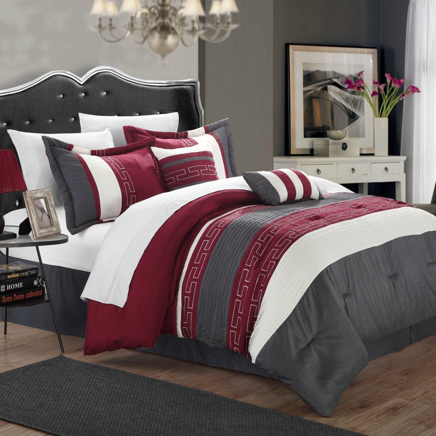 Queen Size Hotel Collection Comforter Set Burgundy / Gray Color Block  Geometric Patterns 6 Pieces