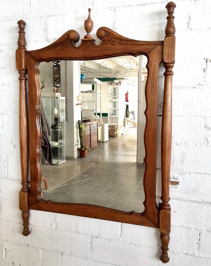 Marco de madera de roble torneada y espejo biselado. Madera ...