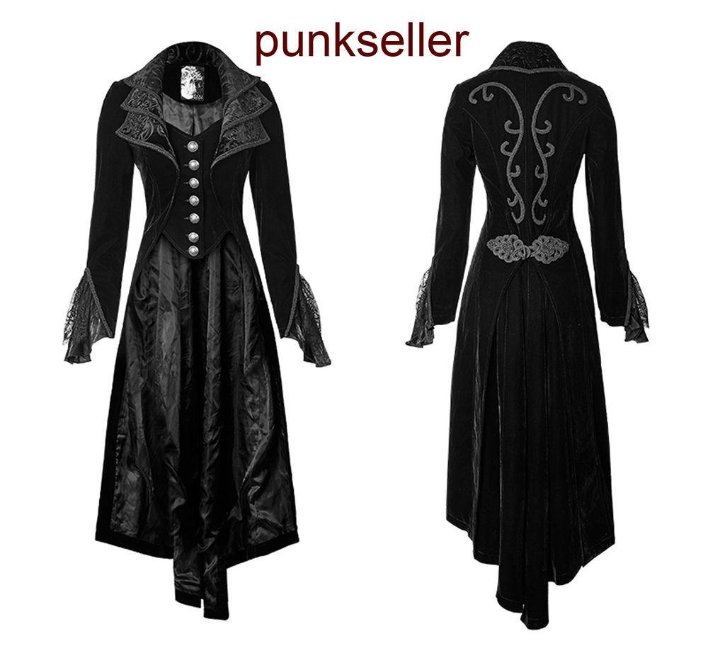 Details about Victorian Vintage Black Woman Coat dress Gothic ...
