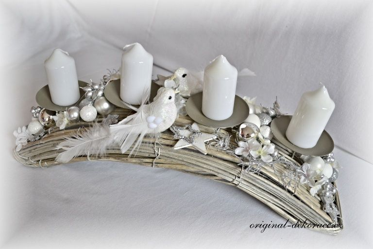 Vánoční (adventní svícen) - oblouk, ratan, šedá patina - ptáčkové