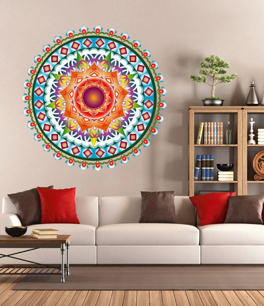 Cik1440 Full Color Wall Decal Beautiful Bright Mandala Meditation Yoga Room Wall Decals Wall Colors Wall Decor