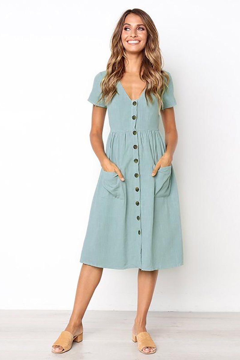 92c445a0e5c0 Button Front Swing Spring Dress in 2019 | Dresses | Dresses, Summer ...