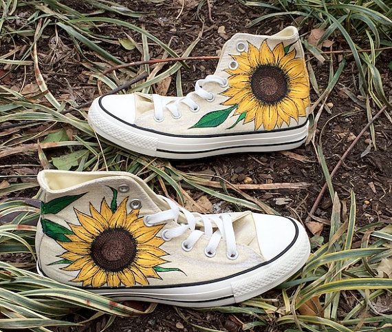 1f23067a70433 Custom Hand-Painted Sunflower Converse Shoes   Etsy   Converse shoes ...