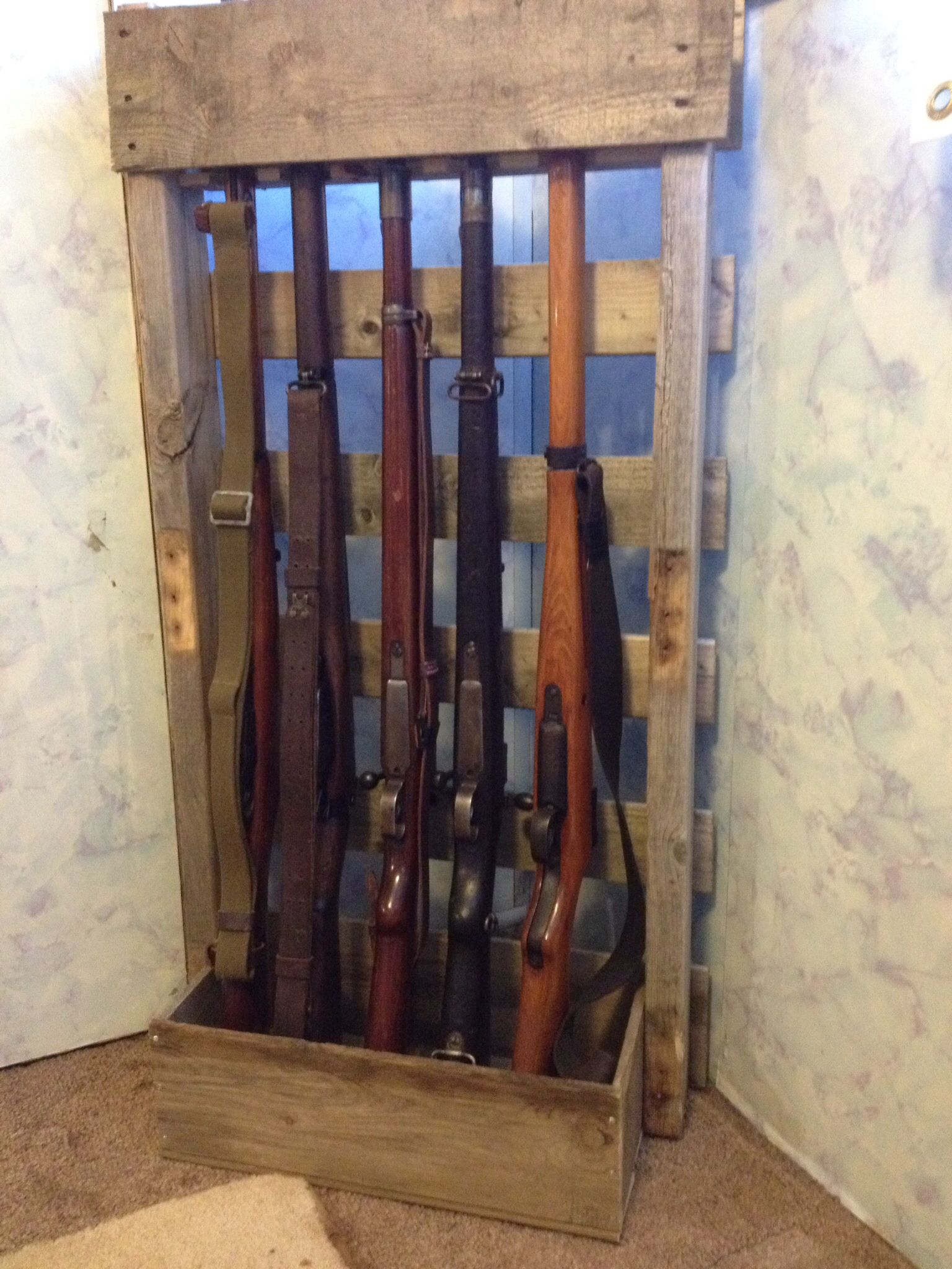 Double pistol handgun revolver gun display case cabinet rack shadowbox - Took An Old Pallet And Made A Vertical Gun Rack For My Wwii Firearms