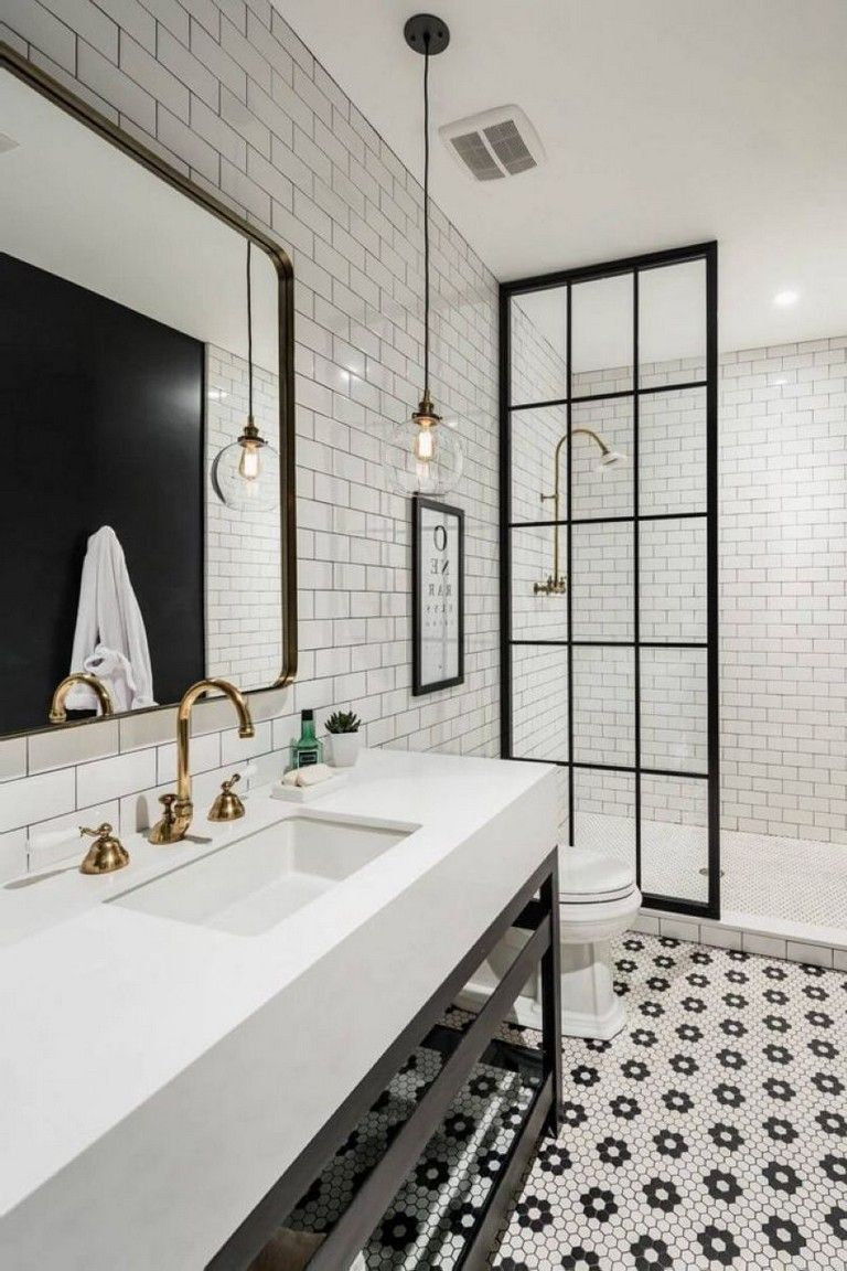 39 Elegant Black White Bathroom Design Ideas Modern Farmhouse Bathroom White Subway Tile Bathroom White Bathroom Designs