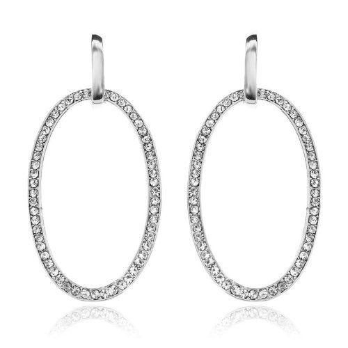 3 Big Oval Dangle Wedding Earring Clear Swarovski Crystal 18K White GP Arinna. $13.98