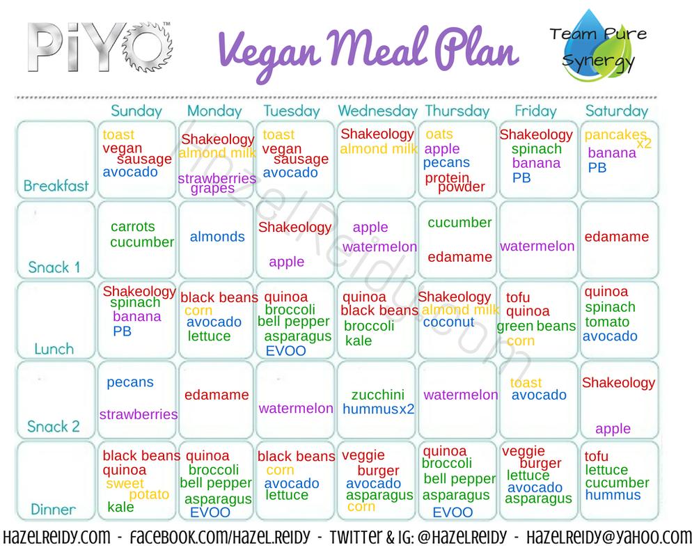 PiYo vegan meal plan! Considering doing the vegan substitutions ...