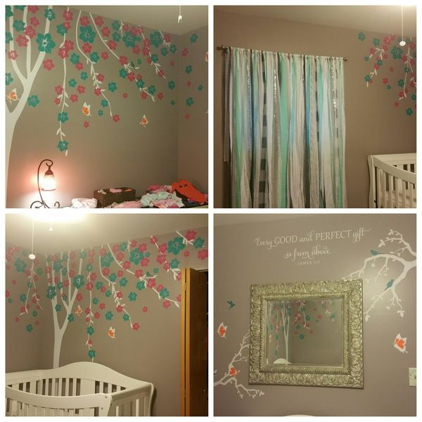 How lovely is this nursery? Beautiful. #green #teal #aqua #pink #inspiration #decore #wall #art #sticker #tree