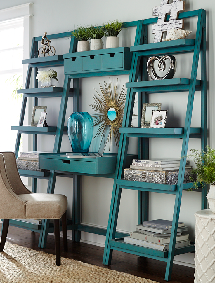 99f609a4b8fa4c Pier 1's ladder-style Morgan shelf gives you lots of display and storage  space in a clean, contemporary silhouette. Handcrafted of pine and  engineered wood ...