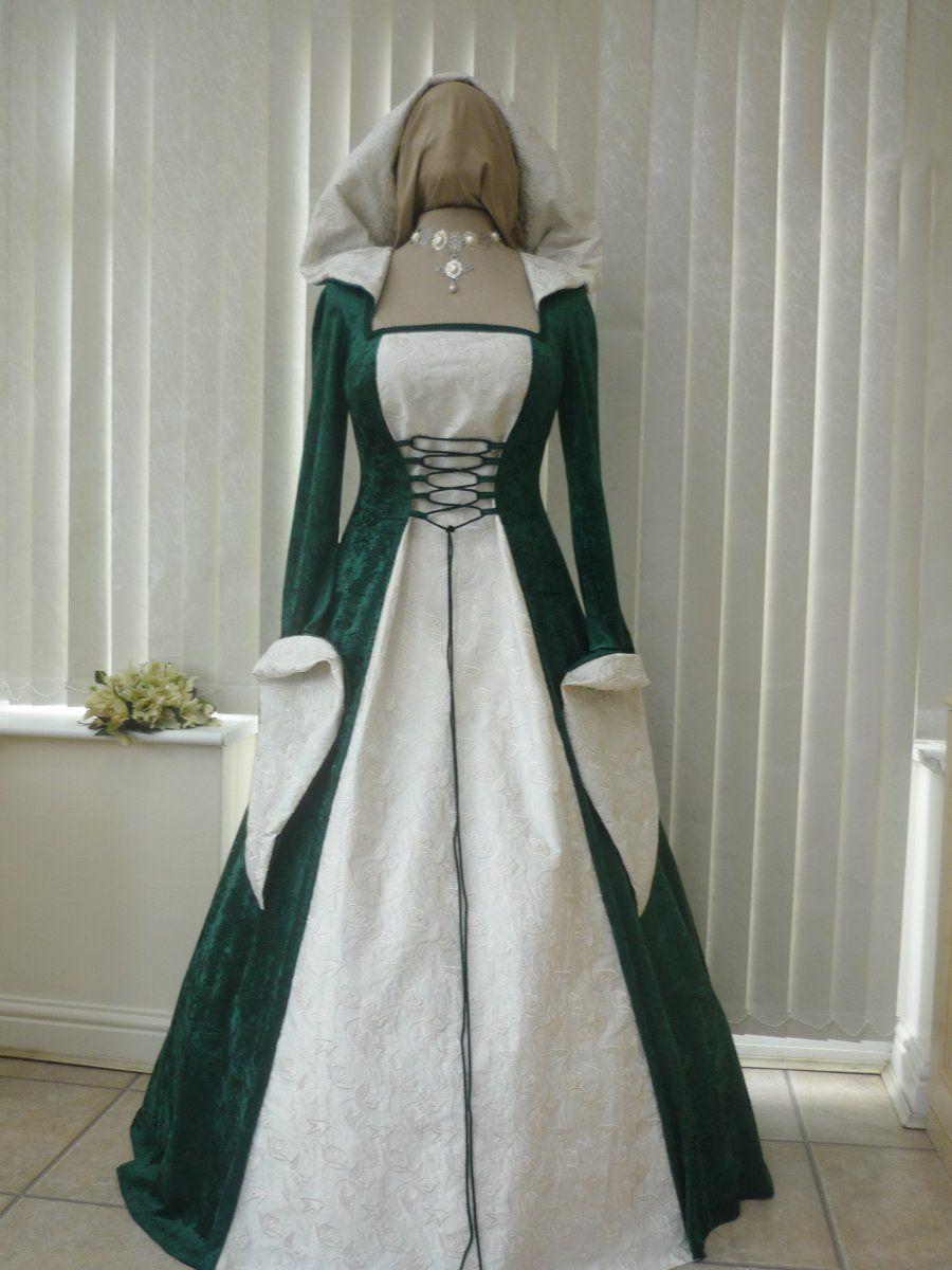 Medieval celtic pagan wedding dress green cream hood for Scottish wedding guest dress