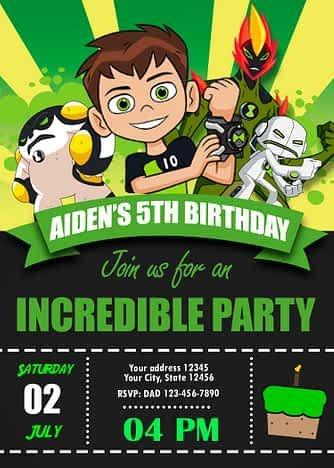 Ben 10 Birthday Party Invitation 2 Amazing Designs Us In 2021 Ben 10 Birthday Ben 10 Birthday Party 10th Birthday Invitation