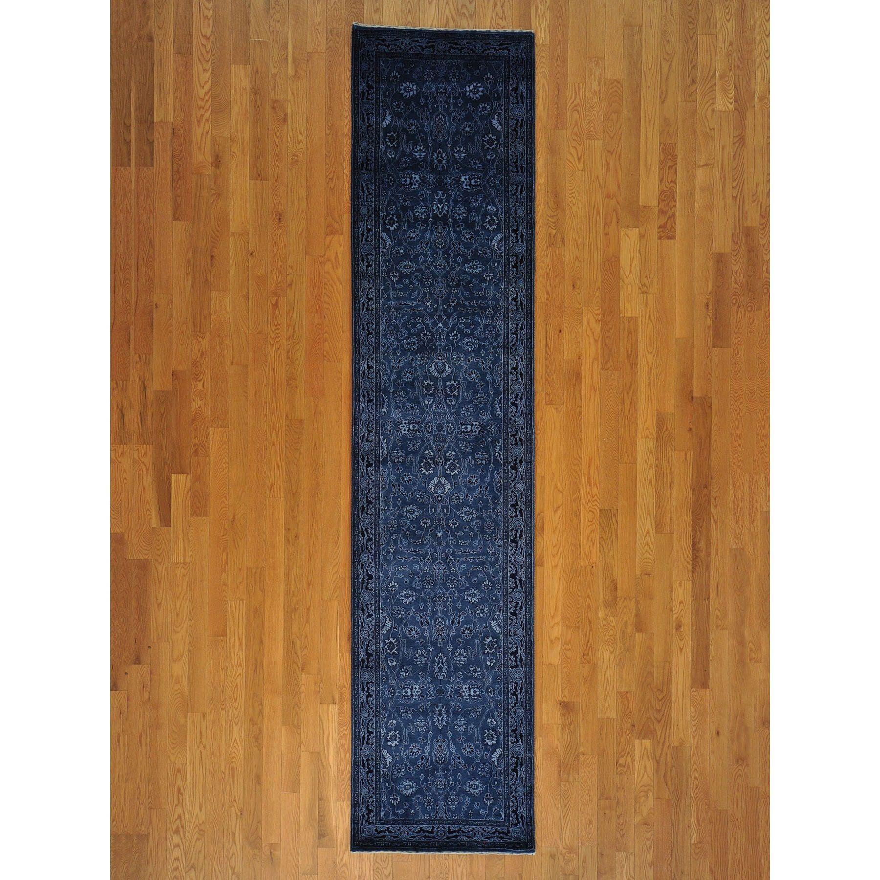 1800getarug Hand Knotted Kashan Denim Blue Runner Rug 3 X 12
