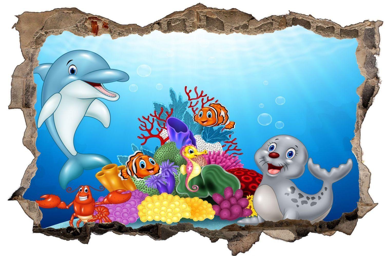 Cartoon Unterwasserwelt Fische Kinder Wandtattoo