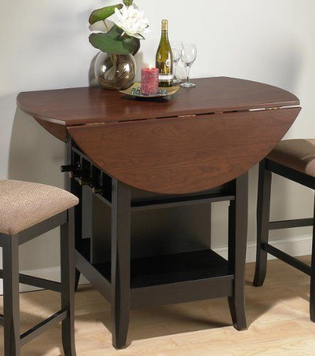 Jofran Counter Height Casual Dining Table In Black And Brunette
