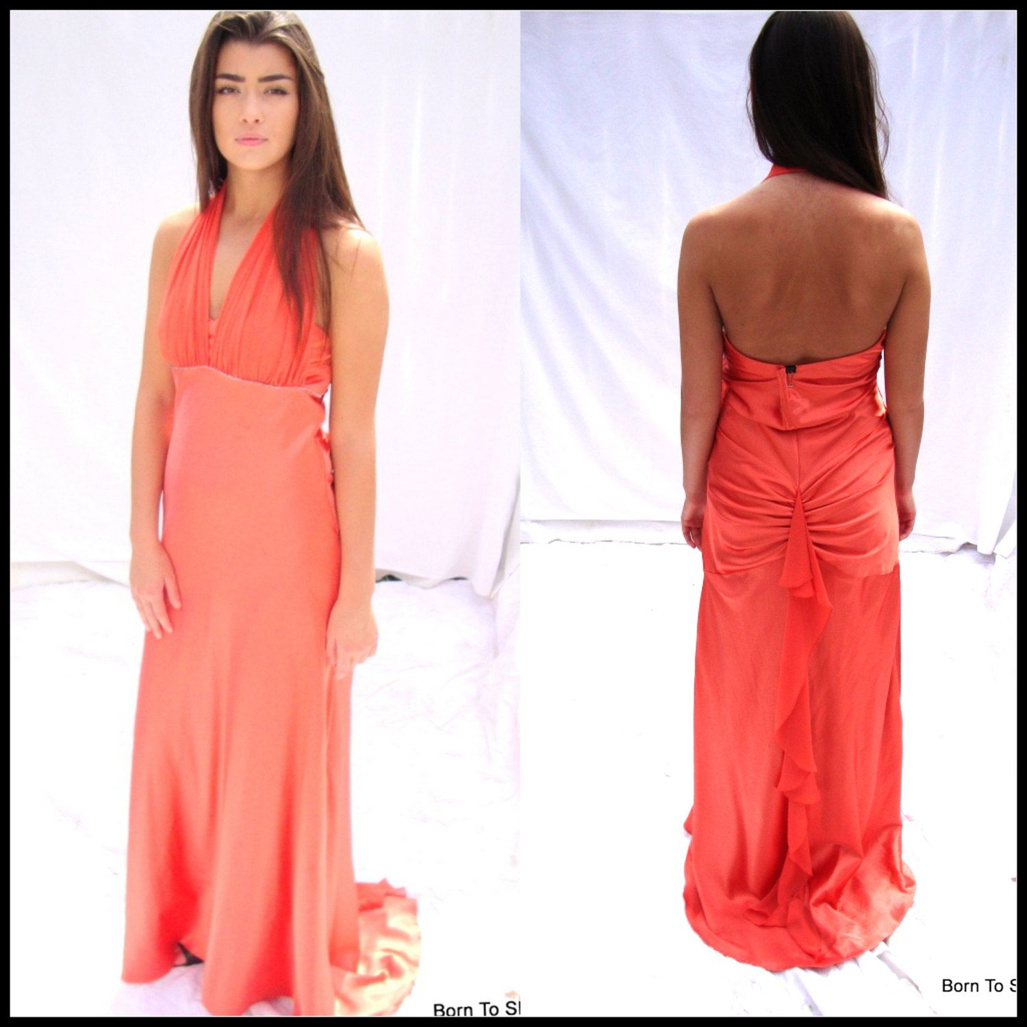 Formal gown coral prom gown evening gown fishtail goddess gown