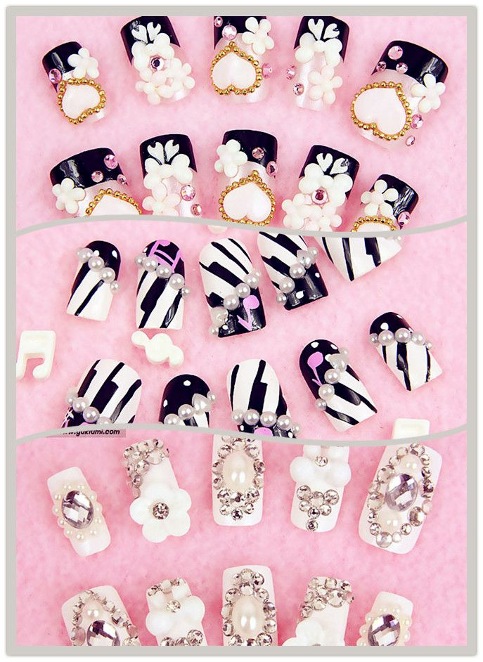 Japanese fake nails with cute designs!!! Many of them are on sale at ...