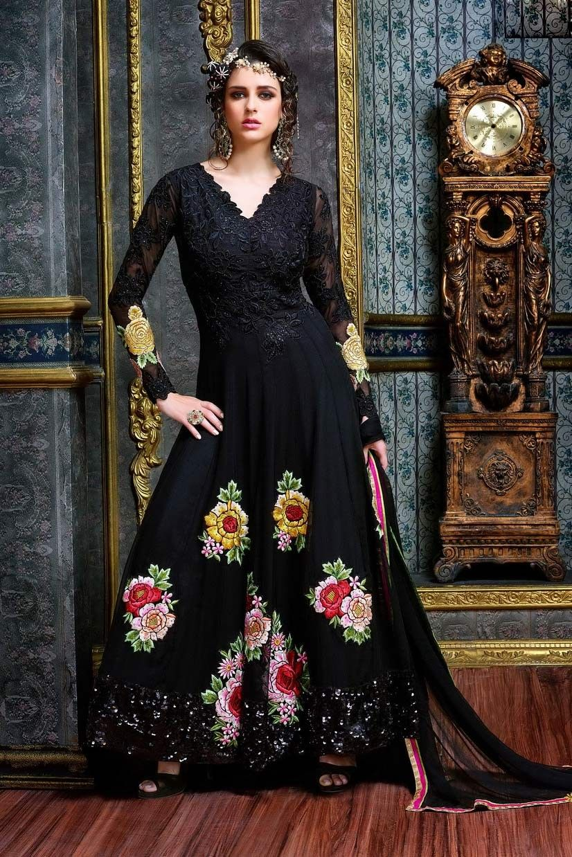 Lace umbrella abaya  long black dress BLACK ABAYA STYLE LONG GEORGETTE EMBROIDERED