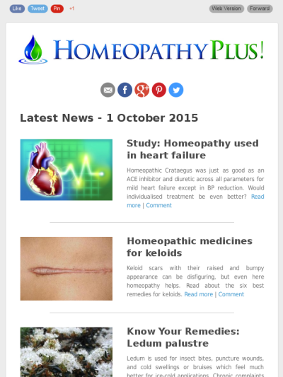 Latest news from Homeopathy Plus - 1 October 2015