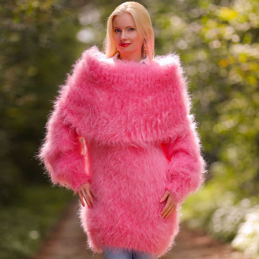 PINK Mohair Sweater Dress Hand Knitted Fluffy Cowlneck Handmade ...