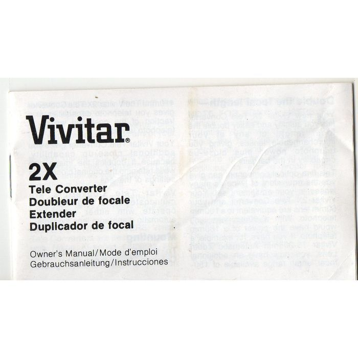 1983 Vivitar 2x Tele Converter Instruction Manual on eBid