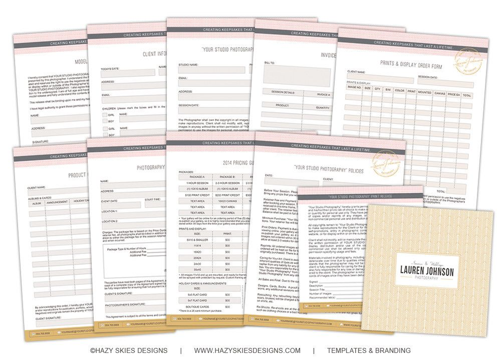 Photography Forms \ Contracts Glam Photoshop, Product - model release form