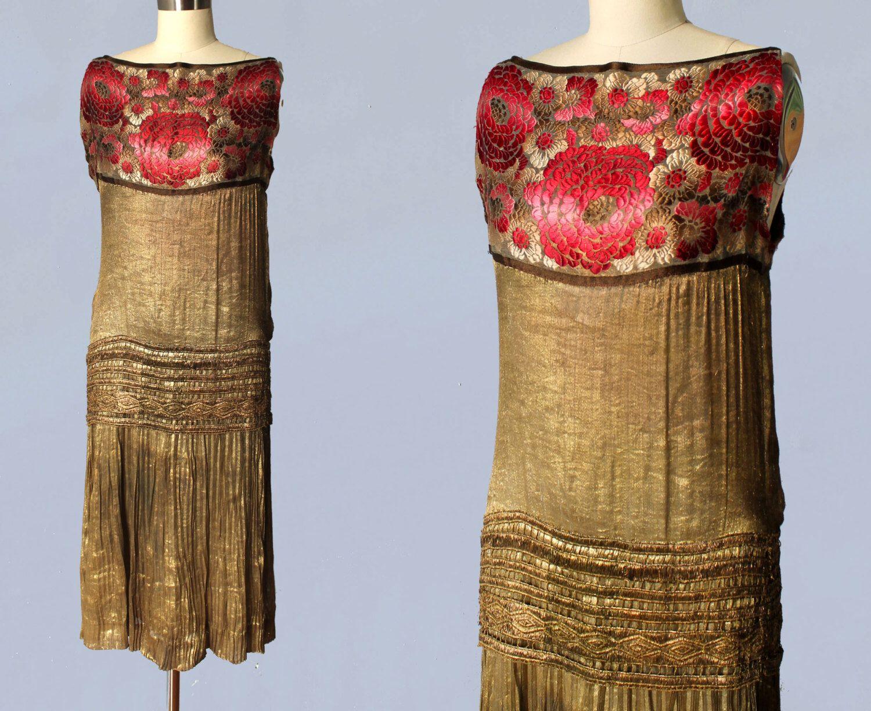 1920er Jahre Kleid / 20 s GOLD Lamé Flapper Kleid / selten ...