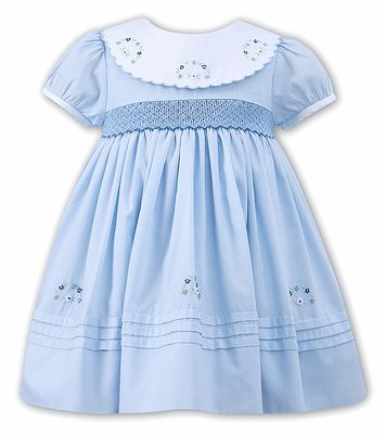 d3d0f27855d4a Sarah Louise Baby   Toddler Girls Blue Smocked Dress with Embroidered  Scallop Collar