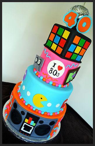 80 39 s themed birthday cake ann e 80 les ann es 80 et les ann es - Gateau annee 80 ...