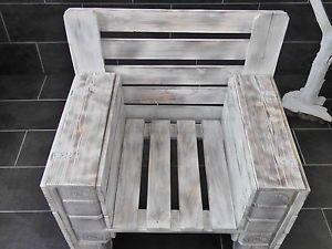 Handgemachter Shabby Chic Sessel Mit Staufächer In Den  Armlehnen,Palettenmöbel