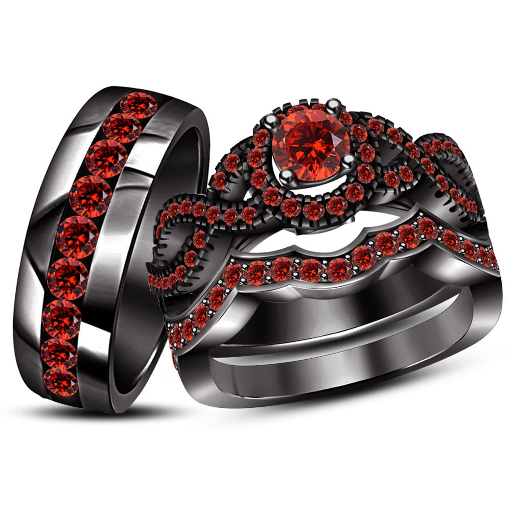 Engagement Ring Wedding Band Trio Set Red Black