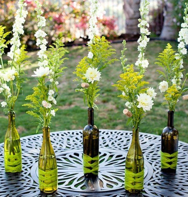 Flower Arrangements In Wine Bottles: Painted Wine Bottles For Centerpieces