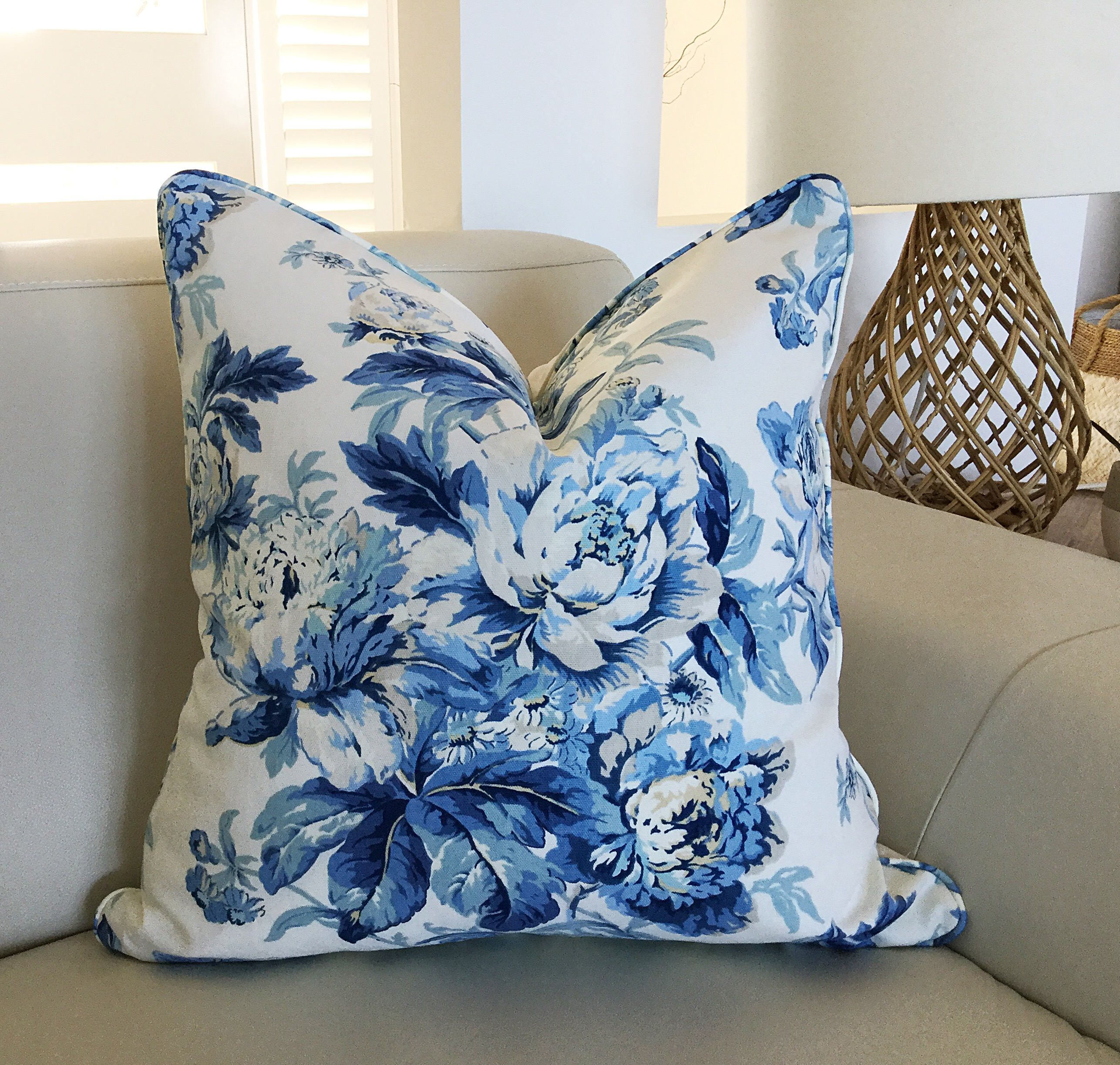 linen pillows cushion cover blue