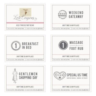 Full Set Of Love Coupons  Marriage    Coupons