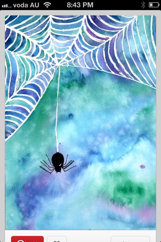 White Crayon Or Wax Pencil And Black Spider Then Watercolor