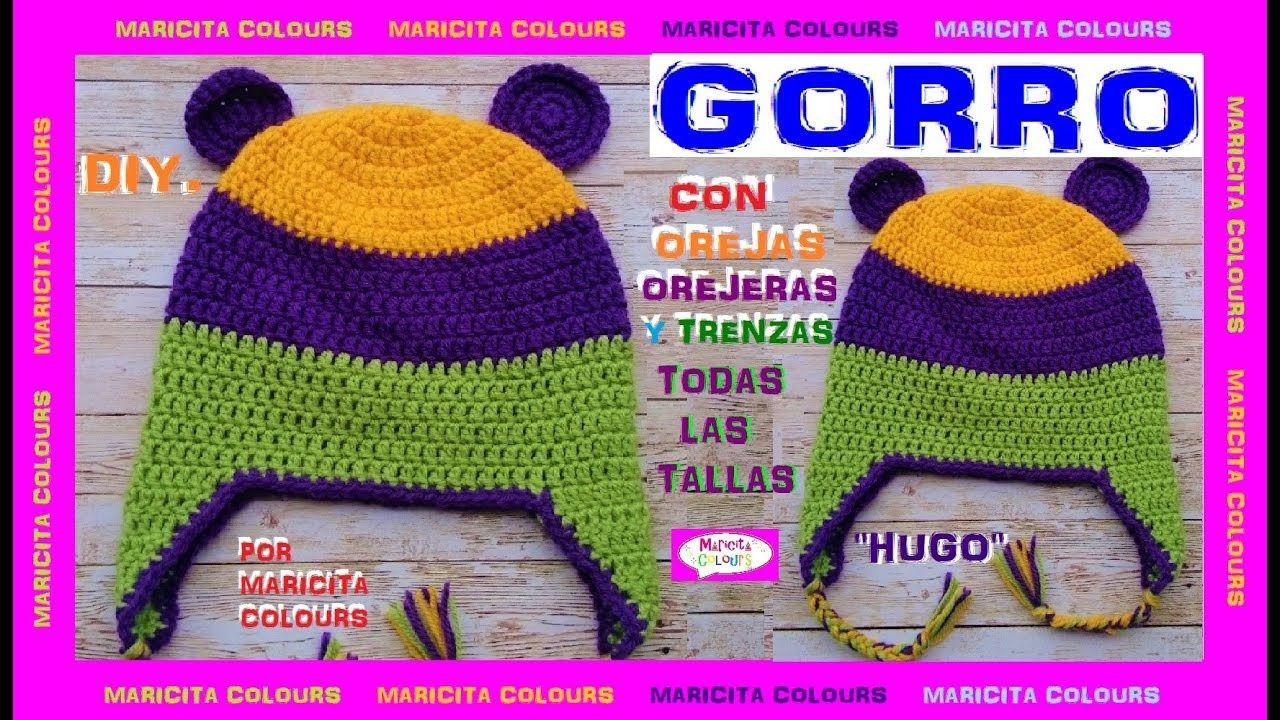 Magnífico Crochet Patrones Del Sombrero Del Bebé Con Orejeras Viñeta ...