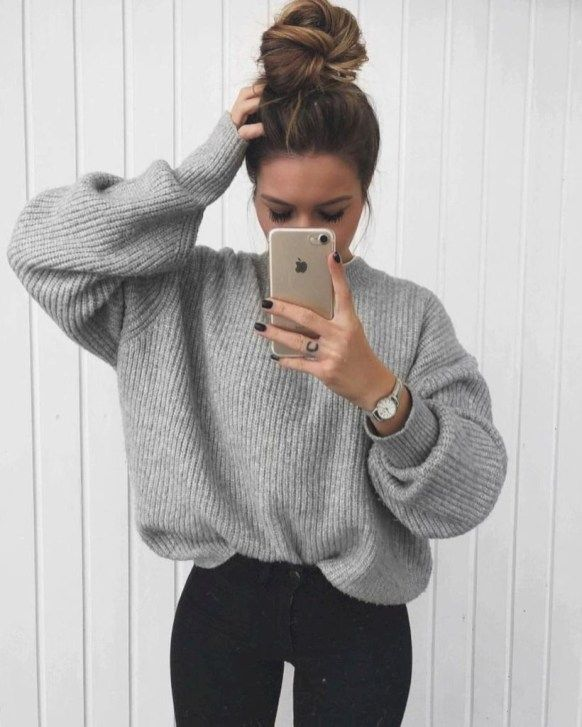 39 Comfy Winter School Outfits for Cold Weather #sweateroutfits