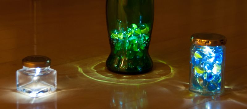 Marbles And A Small Led Turn Glass Into Light Feature Mood